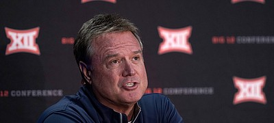 Kansas coach Bill Self speaks to the media during Big 12 NCAA college basketball media day Wednesday, Oct. 20, 2021, in Kansas City, Mo.