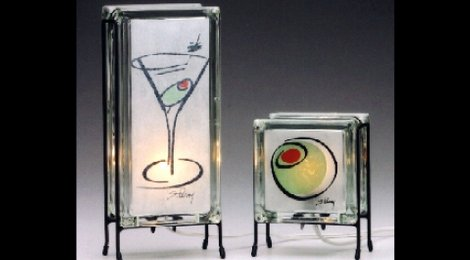 Martini  and  Olive  Glowblock Lamps