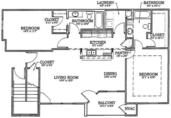 Two Bedroom, Two Full Bath