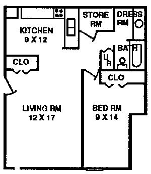 1 Bedroom Apartment Typical Floor Plan