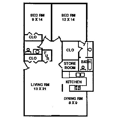 2 bedroom 1 bath apartments. 2 Bedroom Apartment Typical Floor Plan  Quail Creek Apartments