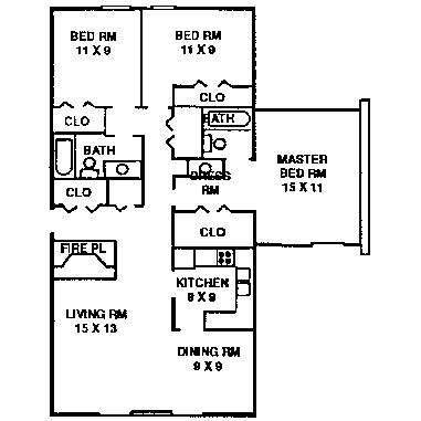 3 Bedroom Apartment Typical Floor Plan | Quail Creek Apartments ...