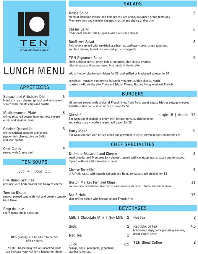 TEN lunch menu (front)