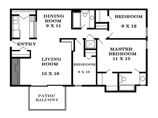 Plan 1170 - Three Bedrooms / Two Bath for June & August