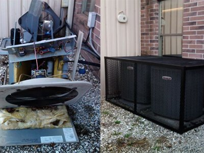 Custom A/C enclosures to guard against copper theft