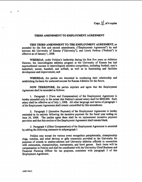Third Amendment To Employment Agreement With Lew Perkins