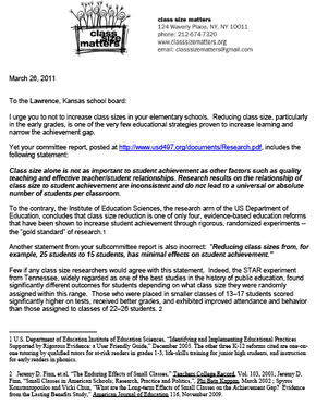 class size matters letter to lawrence school board - Cover Letter For School Board