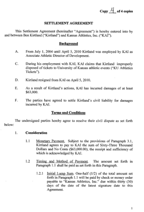 Settlement Agreement Between Ben Kirtland And Kansas Athletics Inc.