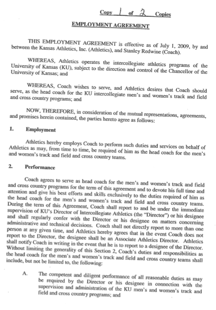 Kansas Athletics Coaches and administrators contracts and – Coaching Contract Template