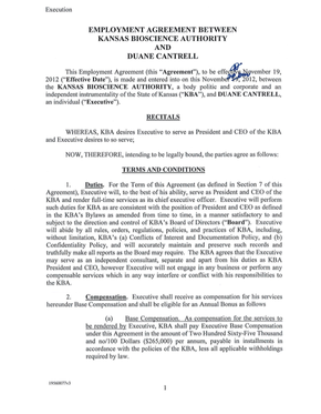 Kansas Bioscience Authority Employment Agreement With
