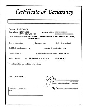 Certificate Of Occupancy Template