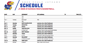 KU men's basketball releases all but 3 games of 2020 21 schedule