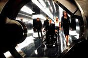 "From Left: Wolverine (Hugh Jackman), Cyclops (James Marsden), Xavier (Patrick Stewart), Storm (Halle Berry) and Jean Grey (Famke Janssen) convene in Xavier&squot;s underground lab in a scene from 20th Century Fox&squot;s ""X-Men."""