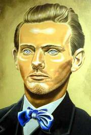 A painting of Jesse James by George Warfel hangs in the Jesse James Museum in Kearney, Mo.