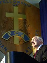 Republican vice presidential candidate Dick Cheney speaks on the importance of teaching character in America's schools. Cheney appeared Tuesday on a campaign stop at the Fellowship of Christian Athletes headquarters in Kansas City, Mo.