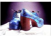 These groovy shoes once worn on stage by the late Keith Moon, former drummer of the British rock band, The Who were on display when the Rock and Roll Hall of Fame opened in Cleveland.