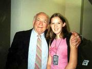 "Actor Ed Asner spends a moment with budding filmmaker Alyssa Buecker of Lawrence, creator of ""Carrot Wars."" Asner was in Lawrence this summer for his performance in the dramatic reading of ""Origins"" at the Lied Center. Alyssa&squot;s film has received a lot of national attention and was viewed in late July by Asner and his family during the movie&squot;s screening at Film Fair in Hollywood."