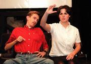 "Having a driving lesson, Josh Meyer as Peck, looks over at Sandi Bailey as Li&squot;L Bit, while she checks the rear view mirror during rehearsal for ""How I Learned to Drive."""