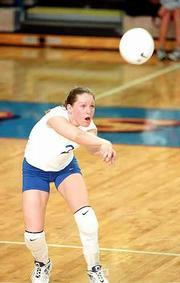 KU's Jamie Morningstar, a former Free State High standout, concentrates on the ball against Oklahoma. The Jayhawks swept the Sooners, 15-8, 15-11, 15-5, Wednesday night at Horejsi Athletic Center.