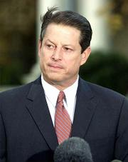 "Democratic presidential candidate Vice President Al Gore speaks outside his Washington residence Friday, Nov. 17, 2000. The vice president said it&squot;s an ""important"" decision that has come down from the Florida Supreme Court."