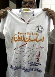A T-shirt with the name of Osama bin Laden is shown in Peshawar, Pakistan. The shirt has unauthorized Nike logos around the collar.