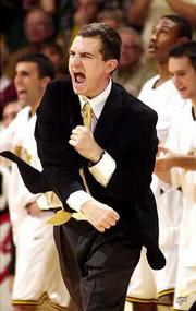 Mark Turgeon, in his first season as Wichita State's head coach, encourages the Shockers during a season-opening victory over Kansas State. The Shockers have won five of their first six games.