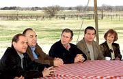 President-elect Bush, middle, leads discussion Saturday among Republican governors at his ranch near Crawford, Tex., From left are: Gov. James Gilmore of Virginia, Gov. John Engler of Michigan, Bush, Gov. Tom Ridge of Pennsylvania, and Gov. Jane Hull of Arizona.