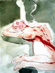 This untitled drawing of a female nude from April 1996 uses liquid acrylic and sumi ink with wax resist.