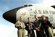 About 50 members of the Topeka-based 190th Air Refueling Wing live in Lawrence. Above, Lawrence pilots Ken Oliver, Jeff Warrender and Chuck Remboldt and navigator Cathy Hambleton stand with one of the wing's 11 KC-135 tankers at Forbes Field.