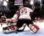 Sergei Fedorov's goal slips by North America goalie Martin Brodeur in the NHL All-Star game Sunday.