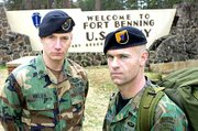 David Nielsen, left, and Dave Scott, two former U.S. Army Rangers, plan to march from Fort Benning, Ga., to Washington, D.C., to protest the Army's decision to issue the black beret as standard headwear for all soldiers.