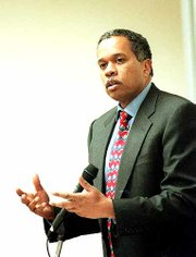 "Juan Williams, author and host of National Public Radio&squot;s ""Talk of the Nation"" show, speaks on the life of former Supreme Court Justice Thurgood Marshall. Speaking Friday at Green Hall, Williams used the life of Marshall as an example of someone who believed that the law should be used to help people."