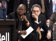 Oklahoma State coach Eddie Sutton, right, and assistant Glynn Cyprien watch the Cowboys during a Feb. 5 game against Missouri. OSU will play Kansas today at Allen Fieldhouse.