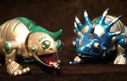 Muy Loco, left, holding a cyber-fly on his tongue, and Trirapaceratops are from the C-Pets series by Trendmasters Inc. The company's C-Pets will include various animal models, like a 12-inch wisecracking lizard that plays games and dances.