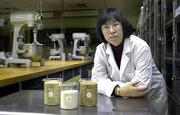Kansas State University assistant professor Susan Xun is researching blending sorghum flour with other flours to develop a formula for bread flour. She is shown with containers of sorgham grain and flour in a baking lab at the Manhattan campus.