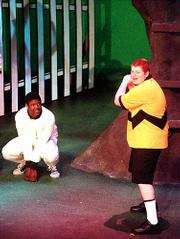 Kansas Summer Theatre will not be offered this year, Kansas University authorities have announced. In this rehearsal last July, Alex Wolfson played Charlie Brown and Xavier Rice portrayed Snoopy.