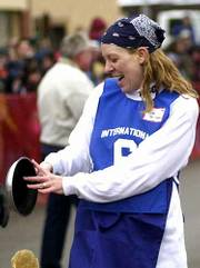 Lisa Spillman who won the International Pancake Race in Liberal, Kan., was admitted to the hospital the next day. She underwent an emergency appendectomy Thursday.