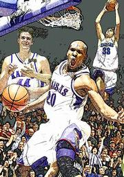 Eric Chenowith, left, Kenny Gregory, center, and Luke Axtell will end their Allen Fieldhouse careers today against Missouri.