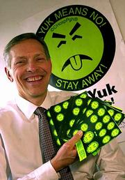 "Ed Krenzelok, director of the Pittsburgh Poison Center at Children&squot;s Hospital, displays ""Mr. Yuk,"" the popular poison-control sticker that has been around since 1971."