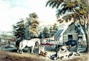 """American Farm Scenes #3"" is a hand-colored lithograph thought to have been made in 1853 by Frances Palmer."
