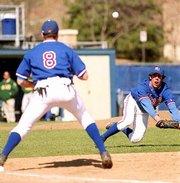 Kansas pitcher Pete Smart, right, flips the ball to KU first baseman Matt Tribble on Saturday at Hoglund Ballpark. The Jayhawks lost, 12-0, to Baylor in Big 12 baseball.
