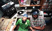 """Hip Hop Hyp"" DJ CGz, left, and sidekick Brian ""Smokey"" Pearson take over the KJHK studio on Saturday nights."