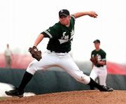 Free State High pitcher Eric Peterson delivers. Peterson left with no decision in the first game of the Firebirds' doubleheader split with Olathe East on Thursday at FSHS.