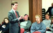 "U.S. Sen. Sam BROWNBACK, R-Kan., encouraged Kansas University students to speak out against abortion ""in a loving fashion"" during an anti-abortion rally. The rally took place Tuesday afternoon in KU&squot;s Burge Union. Brownback also was on campus to speak at a conference on election reform."