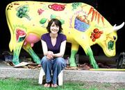 Kristen Dempsey's cow has a healthful eating theme. Dempsey is a Lawrence portrait artist and illustrator.