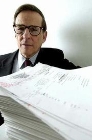 """Author Robert Caro&squot;s manuscript of his Lyndon Baines Johnson biography, """"Master of the Senate,"""" is nearly 7 inches thick. The work represents the long-awaited sequel to Caro&squot;s award-winning and controversial """"Means of Ascent,"""" the second volume in his planned four-volume biography of the former president."""