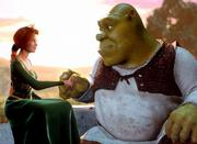 "Characters Princess Fiona, voiced by Cameron Diaz, and the ogre Shrek, voiced by Mike Myers, appear in a scene from DreamWorks Pictures comedy ""Shrek."""