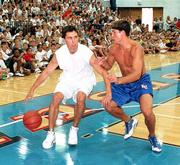 "Former Kansas guard Rex Walters drives on KU guard Jeff Boschee. KU&squot;s current players beat a team of former Jayhawks at Roy Williams&squot; camp on Wednesday at Horejsi Center.<br> <br> <img src=""http://www.ljworld.com/art/arrow_art/arrow_6sports.gif"" align=""left""><br> <br> See the <a href= ""http://www.kusports.com/news/kusp_m_basketball_archive/story/57564"" target=""_new"">6Sports report</a> on the game."