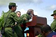 The health of Cuban President Fidel Castro is a hot topic among Cuban exiles in Florida. Castro was helped by aides after he appeared to faint Saturday two hours into a speech under the hot Caribbean sun in Cotorro, Cuba, outside the capital, Havana.