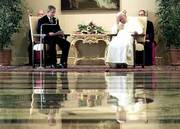 President Bush will weigh Pope John Paul II's views about embryonic stem cell research when Bush decides whether to allow federal funding for the controversial research. Bush and the pope met Monday at the papal summer residence Castel Gandolfo in the foothills south of Rome.